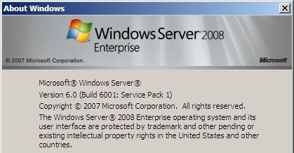Aboutbox Windows 2008 SP1