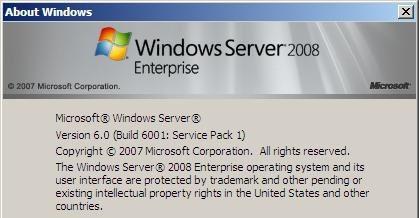 Aboutbox Windows 2008 SP1