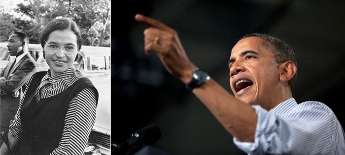 Rosa Parks und Barack Obama, Montage