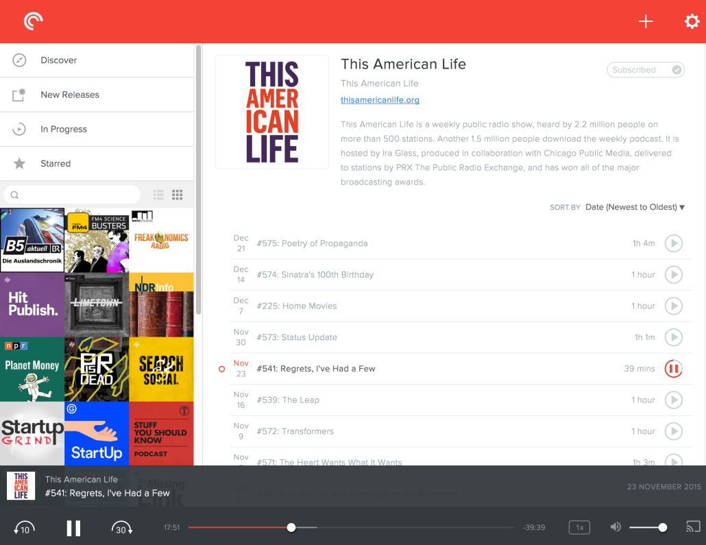 Pocket Casts Web-Player